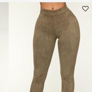 Fashion Nova olive faux suede leggings